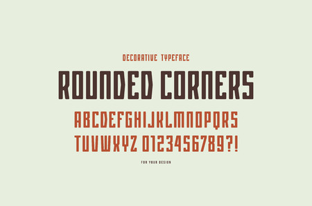 Decorative narrow sans serif font with rounded corners. Letters and numbers for logo and emblem design. Color print on white background Illusztráció