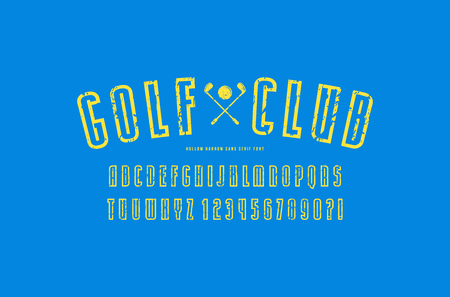 Hollow narrow  sans serif font in sport style. Letters and numbers with rough texture for game, college logo and t-shirt design. Yellow print on blue background