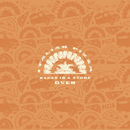 Seamless pattern and emblem for pizzeria. White label on brown background