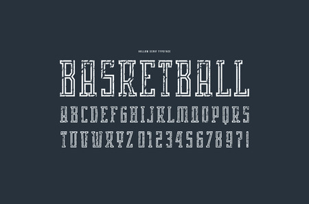 Hollow serif font in the sport style. Letters and numbers with rough texture for logo and emblem design. White print on black background