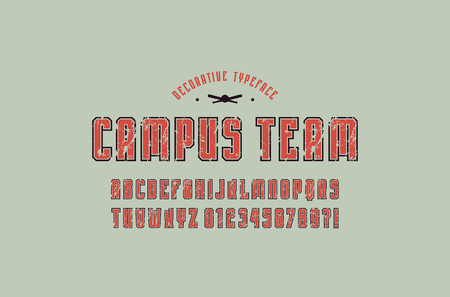 Decorative narrow sans serif font with contour. Letters and numbers with rough texture for logo and t-shirt design. Color print on gray background