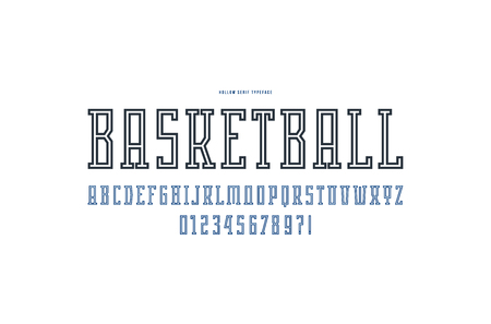 Hollow serif font in the sport style. Letters and numbers for logo and emblem design. Isolated on white background