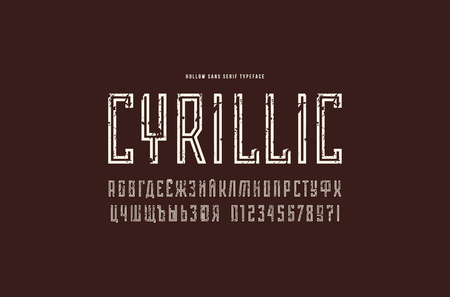 Cyrillic narrow sans serif font in the sport style. Hollow typeface. Letters and numbers with rough texture for logo and title design. White print on black background