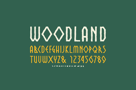 Decorative geometric sans serif font in the style of handmade graphics. Letters and numbers for logo and emblem design Ilustrace
