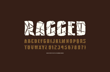 Decorative sans serif font with ragged face. Typeface in the style of handmade graphics. Letters and numbers for logo and emblem design
