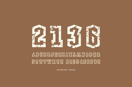 Hollow serif font in military style. Letters and numbers with rough texture for logo and emblem design