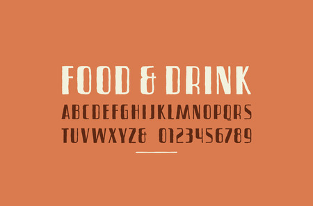 Sans serif font in the style of handmade graphics. Letters and numbers for logo and title design