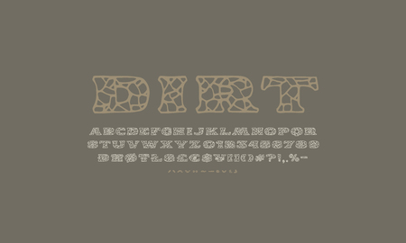 Serif font in the style of handmade graphics. Typeface with cracked face. Print on gray background