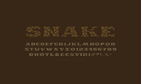 Serif font in the style of handmade graphics. Typeface with cracked face. Print on dark background