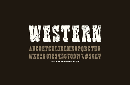 Serif font in the style of handmade graphics. Typeface with vintage texture. Letters and numbers for western, cinema, cartoon logo and title design