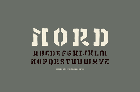 Stencil-plate serif font in the style of handmade graphics. Letters and numbers for logo and label design