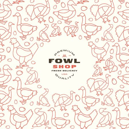 Poultry shop label and frame with pattern. Chicken, goose, duck and turkey image in thin line style. Print on white background