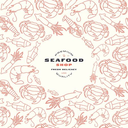 Seafood shop label and frame with pattern. Crab, lobster, shrimp, fish and squid image in thin line style. Print on white background