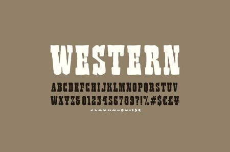 Serif font in the style of handmade graphics. Letters and numbers for western, cinema, cartoon logo and title design