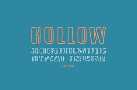 Hollow sans serif font in the style of handmade graphics. Letters and numbers for logo and title design. Print on blue background Ilustração