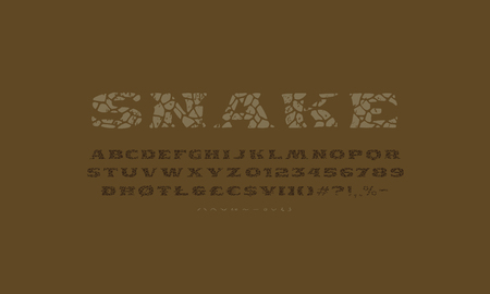 Serif font in the style of handmade graphics. Typeface with cracked face and vintage texture. Print on brown background