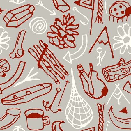 Seamless pattern in the style of hand-drawn graphics. Camping and hiking theme