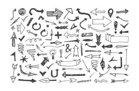 Set of arrow icons in the style of hand-drawn graphics. Doodle infographic  elements design. Isolated on white background
