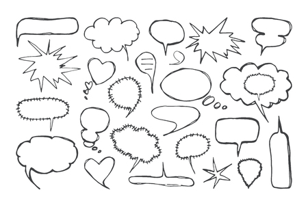 Set of blank speech bubbles in the style of handmade graphics. Isolated on white background Vetores