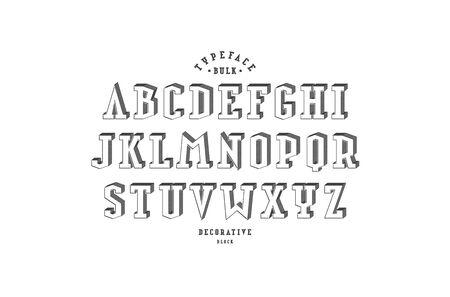 Decorative serif bulk font. Letters for logo and title design. Black print on white background