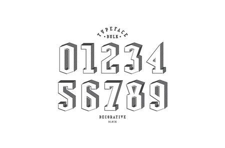 Decorative serif bulk numerals for logo and title design. Black print on white background