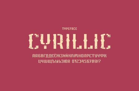 Decorative stencil-plate sans serif font in retro style. Cyrillic letters and numbers with vintage texture for military, urban logo and emblem design. Color print on black background