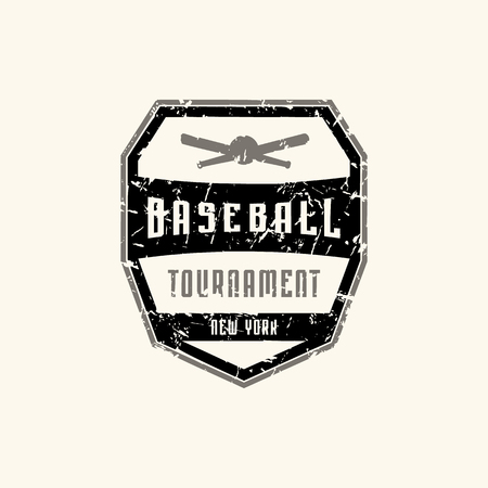 Emblem of baseball tournament with vintage texture for sticker and t-shirt design. Print on white background Illustration