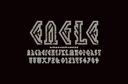 Decorative geometric hollow serif font. Letters and numbers with vintage texture for camping and hiking   design. Color print on black background