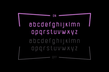 Decorative sans serif font. Lowercase letters in the form of neon lamps with on and off effect. Color print on black background Illustration