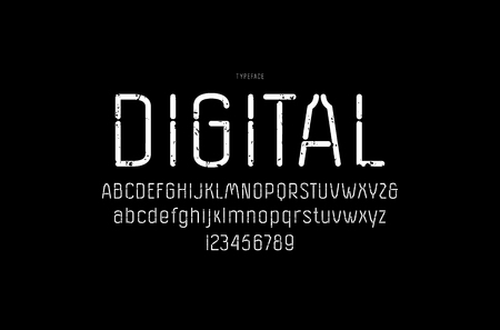 Decorative sans serif font with rounded corners. Letters and numbers with vintage texture for  headline design. White print on black background Ilustrace