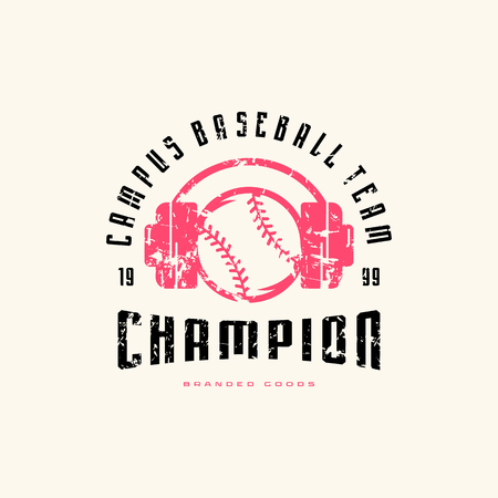 Emblem of baseball champion team with vintage texture for sticker and t-shirt design. Color print on white background Ilustrace