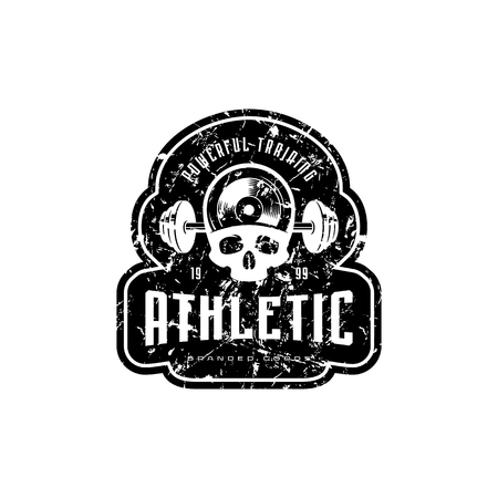 Athletic emblem for t-shirt, sticker and tag. Graphic design with skull image and vintage texture. Black print on white background