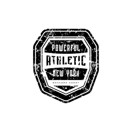 Athletic emblem for t-shirt, sticker and tag. Graphic design with vintage texture. Black print on white background