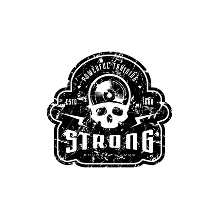 Athletic emblem for t-shirt, sticker and tag. Graphic design with skull image and vintage texture. Black print on white background Ilustrace