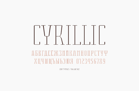 Condensed serif font in thin line style. Cyrillic letters and numbers for label and title design. Color print on white background Vettoriali