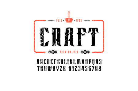 Craft beer emblem and decorative serif font in vintage style. Letters and numbers with rough texture for label design. Print on white background