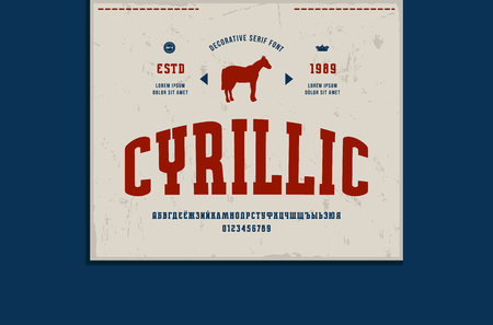 Cyrillic narrow slab serif font and denim label template. Letters and numbers for  design