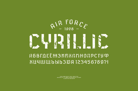 Stencil-plate sans serif font in military style. Cyrillic letters and numbers with vintage texture for  t-shirt design. White print on green background