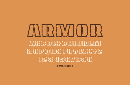 Decorative hollow sans serif font in military style. Letters and numbers with vintage texture for  emblem design
