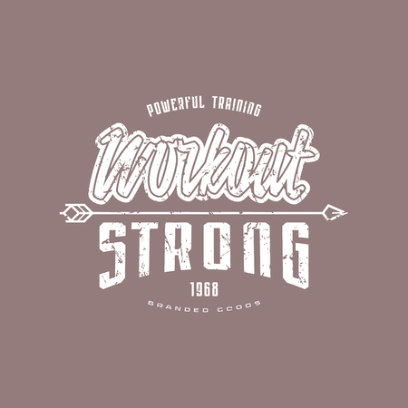 Workout club emblem for t-shirt. Graphic design with lettering and vintage texture. White print on color background