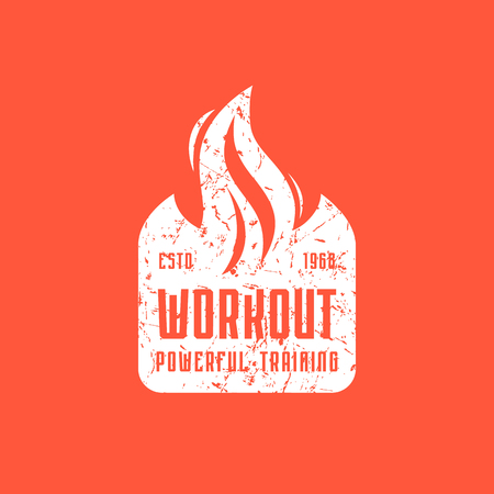 Workout club emblem for t-shirt. Graphic design with vintage texture. White print on red background Ilustrace