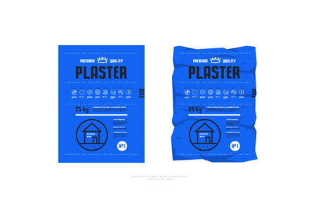 Template label for facade plaster packaging. Icons in thin line style for instructions. Print on bright blue pack