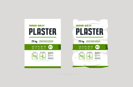Template label for interior plaster packaging. Icons in thin line style for instructions. Environmentally friendly product