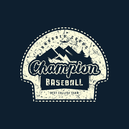 Emblem of champions baseball team with rough texture. Graphic design for sticker and t-shirt. White print on black background Ilustrace
