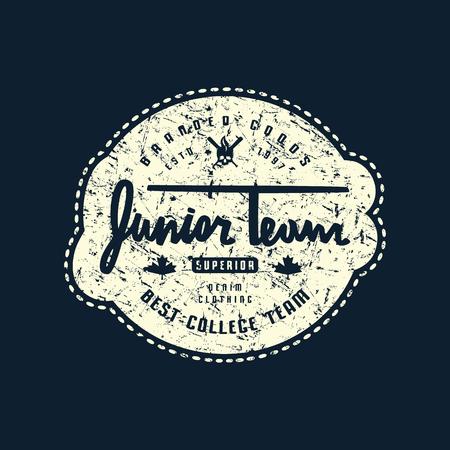 Emblem of junior baseball team with rough texture. Graphic design for sticker and t-shirt. White print on black background Ilustração