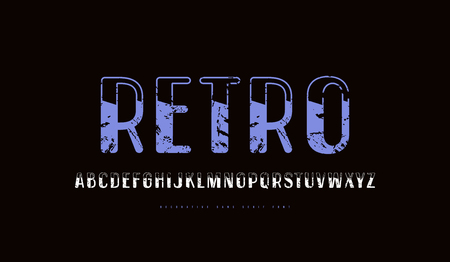 Decorative  sans serif font in retro style with rounded corners. Letters with rough texture for  label design. Color print on black background Ilustrace
