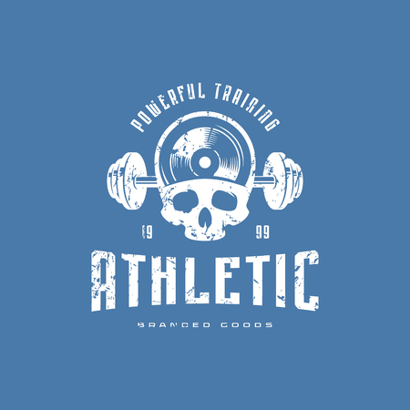 Athletic emblem for t-shirt. Graphic design with skull image and vintage texture. White print on blue background Иллюстрация