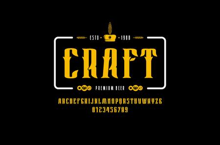 Craft beer emblem and decorative serif font in vintage style. Иллюстрация