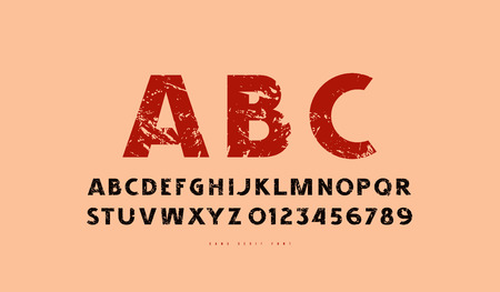Decorative sans serif font in classic style. Bold face. Letters and numbers with rough texture for label design