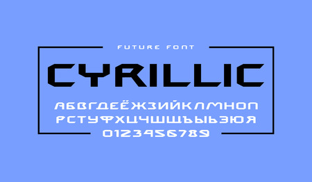 Cyrillic extended sans serif font. Letters and numbers for sci-fi, movie, cyber and space design. Print on blue background